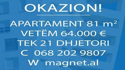 Okazion tek 21 Dhjetori, Apartament per vetem 64,000 Euro